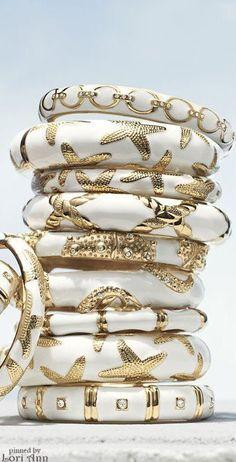 White & Gold Beach bangles ♥ I am very thankful for them ♥ Sea Glass Jewelry, Jewelry Box, Jewelry Accessories, Jewelry Design, Fine Jewelry, Daisy Jewellery, Diamond Jewellery, Jewelry Trends, Silver Bracelets