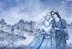 Cuivienen by Jenny Dolfen--Finwe and Mirel, with Elwe as of yet single in the background...