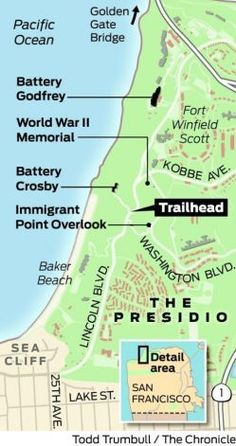 Presidio's coastal bluffs: offbeat hike.  Even though we were Air Force, my mother was hospitalized at Presidio in the 80s when it was still full of military personnel.