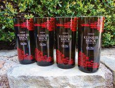 Recycled Klinker Brick Wine Bottle Glasses Set of Four   ConversationGlass - Housewares on ArtFire