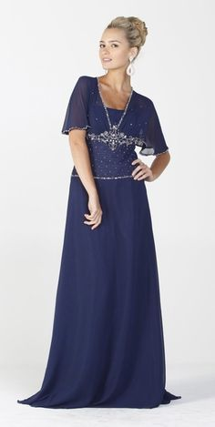 Long Mother of Bride Navy Blue Dress Modest Chiffon Short Sleeves (In this case of mother of the Groom) Carrillo Navy Blue Dresses, Modest Dresses, Blue Fashion, Mother Of The Bride, Groom, Chiffon, Short Sleeves, Formal, Wedding
