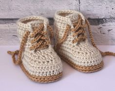 "Crochet Shoes Pattern for Baby Boys ""Combat"" Boot Crochet Pattern, Beige Crochet Baby Boots, street shoes PATTERN ONLY"