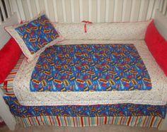 Custom super hero words boys crib bedding set