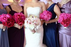 Loving these hot pink bouquets By Yena Designs! Perfect to tie in the various shades in the bridal party dresses!Photo by Xo Andrea New York Wedding Dresses, Bridal Party Dresses, Bridal Parties, Bridal Bouquets, Bridesmaid Dresses, Glamorous Wedding, Luxury Wedding, Hot Pink Bouquet, Vera Wang