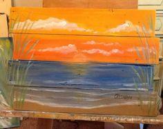 Ocean beach scape pallet art nautical  reclaimed wood summer