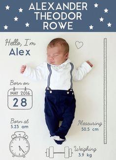 New born announcement photo - baby boy