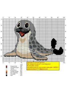 Seal by rhoda Cross Stitch For Kids, Cross Stitch Animals, Cross Stitch Charts, Cross Stitch Patterns, Blackwork Embroidery, Cross Stitch Embroidery, Pixel Art Templates, C2c Crochet, Needlepoint Patterns