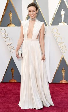 Olivia Wilde wears a Valentino Haute Couture Grecian gown