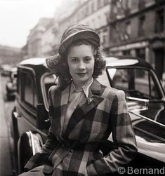 Street style 1947 plaid coat hat shirt casual day wear late 40s post war era