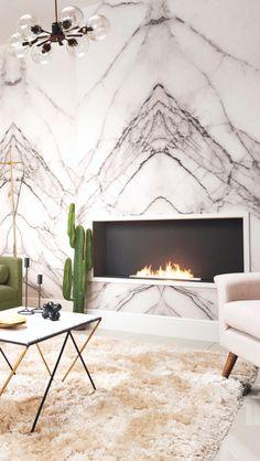 #livingroom #IWANTTHATSTYLE #hillarysblinds #brief #minimalistic #minimalism #luxury #luxe #minimalistluxe #marble #wallpaper #campaign #midcentury #midcenturymodern #shagpile #rug #brass #gold #curtains #ivory #armchair #fireplace #chandelier #interiordesign #interiorinspo