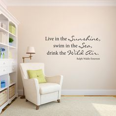 Ralph Waldo Emerson Wall Decal - Drink the Wild Air - Phrase Wall Decal - Large by StephenEdwardGraphic on Etsy https://www.etsy.com/listing/182293039/ralph-waldo-emerson-wall-decal-drink-the