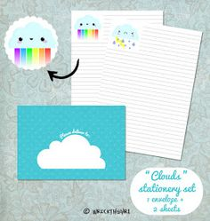 Free printable - cloud stationery and envelope