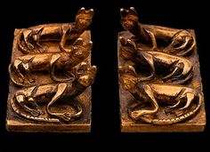 Pair of Spacer Bars with Cats, from Edfu, south of Thebes. It was designed to secure bracelets composed of 12 strands of small beads. This is the earliest known use of cats (symbols of the goddesses Bastet and Hathor) on jewelry. The bracelets belonged to Queen Sebekemsaf, a forebear of King Ahmose. Second Intermediate Period, 17th Dynasty, reign of Nubkheperre Intef (ca. 1650 B.C.)