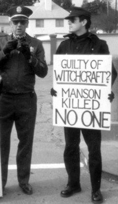 Boyd Rice at a protest for Charles Manson's release from San Quentin Prison an the 1980's.