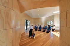 Built by dwpIsuters in Bentleigh East, Australia with date Images by Emma Cross . The Meditation and Indigenous Cultural Centre (M&ICC) at Bentleigh Secondary College was conceived to educate the. Melbourne Architecture, Sacred Architecture, Green Architecture, Architecture Student, Sustainable Architecture, Architecture Design, Meditation Center, Meditation Space, Fotografia