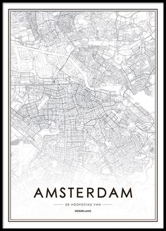 Poster met Amsterdam plattegrond