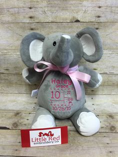Adorable Grey & White Elephant by Baby Cubbies - customized for you! These make a wonderful baby gift, birthday gift for a small child, or even a christening gift. A truly unique gift that will be treasured for years by both parents and child. Choose which embroidery style youd