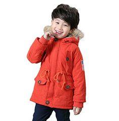 Gaorui Unisex Boys Girls Winter Hooded Coat Kids USA Flag Thick Cotton Outwear Jacket