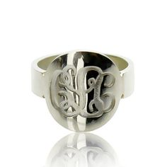 Handmade 3 Initials Monogram Name Ring Personalized Monogrammed Sterling Silver Ring Engraved Ring Bridesmaids Ring  For the bridesman