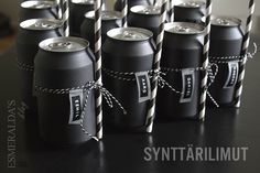 Painted cans? Too much work.but the string/straws great idea! Soda Can Crafts, Paint Cans, Childrens Party, Simple Designs, Party Time, Halloween Party, Canning, Black And White, Cool Stuff