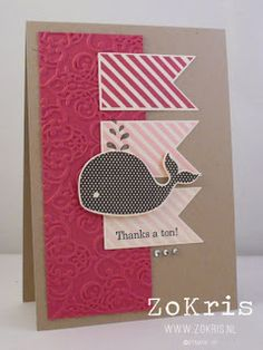Another Oh, Whale! card from Stampin' Up! 2013 Spring Catalog.  Whale stamped Early Espresso and flags use Hearts A Flutter stamps in Rose Red, Pretty In Pink, and Pink Pirouette ink on Whisper White cardstock.  Crumb Cake, and Rose Red are the remaining   Punches/ Dies : Hearts a Flutter Framelits and Lacy Brocade Embossing Folder finish the card with Rhinestone Basic Jewels bling!  in