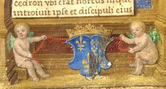 Coat of arms of Queen Claude de France in the lower border (f°6, right). -- «Prayer Book of Claude de France», illuminated by the Master of Claude de France, Tours, ca. 1517.-  Florimont I° Robertet  construisit son chateau de Bury . Commencé en 1511, le chateau de Bury était à peu près terminé en 1515,  à l'avénement de François I°, mais on put porter les chiffres du nouveau roi (F) et de la reine Claude (C) sur la face vers les jardins de la chambre haute au-dessus de l'escalier.