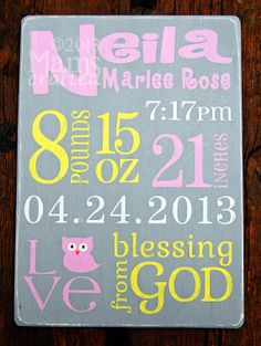 Birth Announcement Subway Art Template | Baby Stats Birth Announcement Custom Subway Art Nursery ... | MamsCra ...