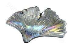 Ostrica in vetro decoro argento riflessi madreperla