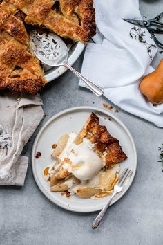 Salted Caramel Pear Pie with Ginger Gelato (ice cream)