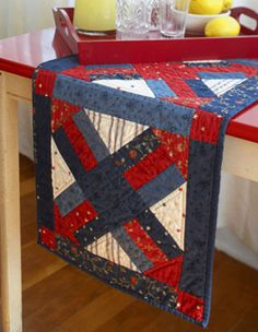 4th of july quilted table runner