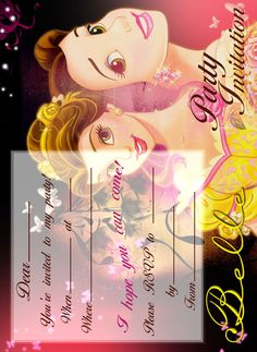 Saved to computer then printed, free!  BEAUTY AND THE BEAST - BELLE FREE PRINTABLE PARTY INVITATION
