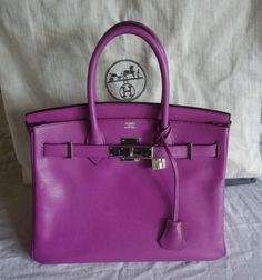 ~AUTHENTIC HERMES 30 CM EPSOM LEATHER BIRKIN BAG IN CYCLAMEN (THE ULTIMATE!)~ #HERMES #tote