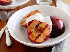 Bobby serves these easy-to-make Grilled Plums with Spiced Walnut Yogurt Sauce after brunch, but it would be a great way to end a summer dinner as well.
