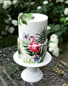 Flamingo drawn cake with trees two tier cake