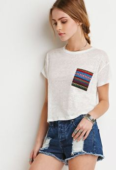 Camiseta Bolsillo Estampado Southwestern | Forever 21 - 2000113961