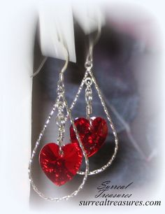Red Heart  Earrings  Sterling silver Red by SurrealTreasures