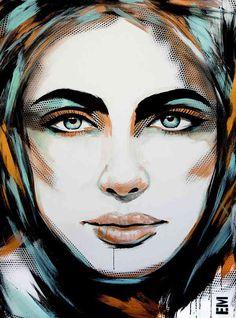 Pinturas de mujeres hechos con acrílicos sobre lienzo
