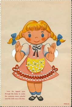 Girl with Pigtails Printable Vintage Sewing Card - Print on Cardstock Paper, Hole Punch & use string or wool for Lacing/Sewing #vintage #sewing #children