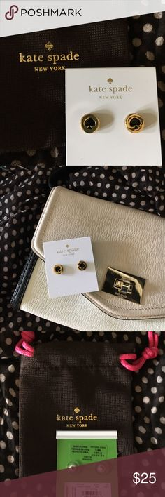♠️️🎄NEW LISTING🎄♠️️ Kate Spade Logo Earrings NWT Kate Spade Logo Earrings in gold-tone and black. I would love to find these in my Xmas stocking!  Jewelry bag is included. kate spade Jewelry Earrings
