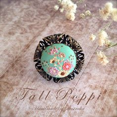 ASTER  Hand crafted polymer clay ring by TallPoppi on Etsy, $35.00