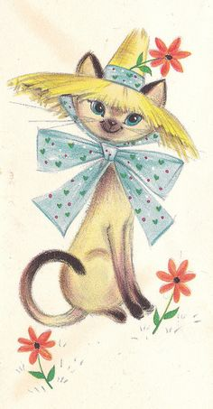 Vintage Hallmark Note Card Siamese Kitty by hmdavid, via Flickr