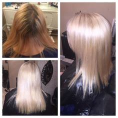 Before/after platinum blonde highlights and base high lift color added olaplex bright shiney medium length