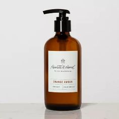 Hand Lotion - Orange Amber - Hearth & Hand with Magnolia, Clear Amber Glass Jars, Glass Bottles, Small Bathroom Mirrors, Primitive Bathrooms, Chip And Joanna Gaines, Candle Containers, Soap Dispensers, Hand Lotion, Hearth
