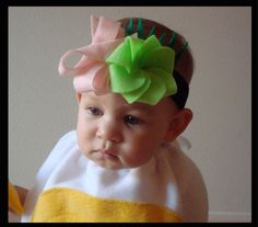 Ginger and Wasabi headband for Sushi costume - the flower comes from American Girls craft book.