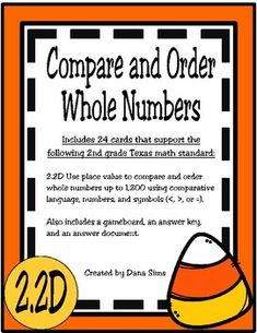 Includes 24 cards that support the following 2nd grade Texas math standard: 2.2D Use place value to compare and order whole numbers up to 1,200 using comparative language, numbers, and symbols (<, >, or =). Also includes a gameboard, an answer
