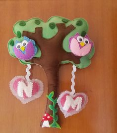 Felt kids door ornament. Owls in tree welcome kids bedroom