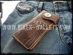 """Scotch and Soda"" 8"" Custom Handmade Crocodile Men's Biker Wallet"