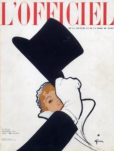 René Gruau 1949 L'Officiel Cover, Hat by René Gruau   Hprints.com Zippertravel.com Digital Edition