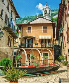Piazza XXV Aprile, in Sala Comacini, a fishing village on Lake Como, where you take a small boat to the only island on the lake, Isola Comacina, and dine at the well known and memorable Locanda Dell'Isola Comacina.