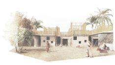 Orfanato y talleres de trabajo colectivo en el casco antiguo de Ahmedabad
